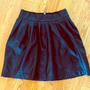 XHILARATION Black pleather pleated skirt